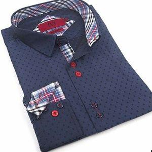 XXL Blue Red Cotton Button Down Dress Shirt N18.5